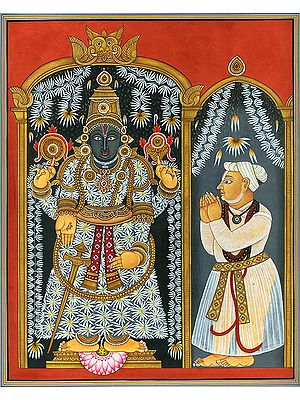 Lord Venkateshvara as Balaji with a Devotee