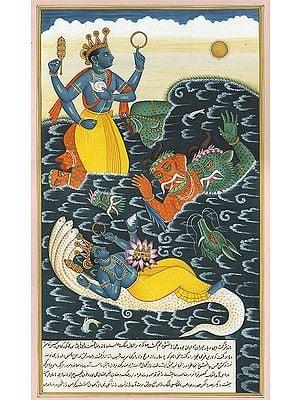 Lord Vishnu Killing the Demons Madhu and Kaitabha