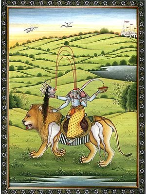 Mahavidya Chinnamasta Riding Lion