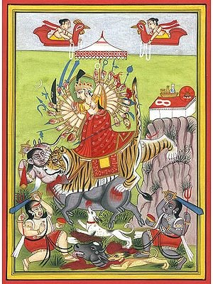 Mahishasur Mardini Mother Goddess Durga with Two Bhairavas