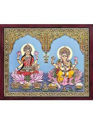 The Supreme Duo of Ganesha and Lakshmi in a Gold Temple Frame