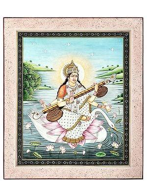 Devi Sarasvati Seated On A Lotus On The Back Of The Swan