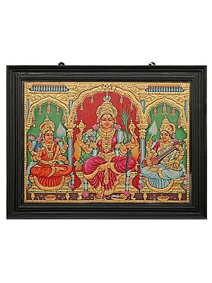 """27"""" x 21"""" Goddess Rajarajeshwari, Lakshmi and Saraswati In All Their Finery Tanjore Painting 