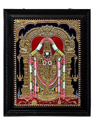 """22"""" x 27"""" Lord Venkateshvara as Balaji Tanjore Painting 