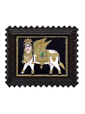"""13"""" x 11"""" Kamadhenu - The Wish Fulfiling Cow Tanjore Painting 