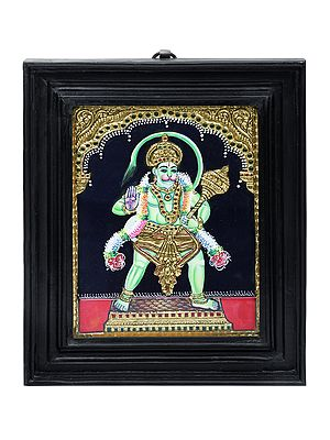 """10"""" x 12"""" Hanuman Ji Tanjore Painting 