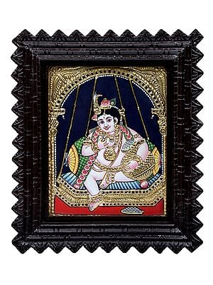 """11"""" x 13"""" Butter Krishna Tanjore Painting 