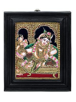 """10"""" x 12"""" Relaxing Krishna Tanjore Painting 