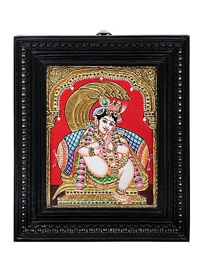 """10"""" x 12"""" Krishna Sucking His Thumb Tanjore Painting 