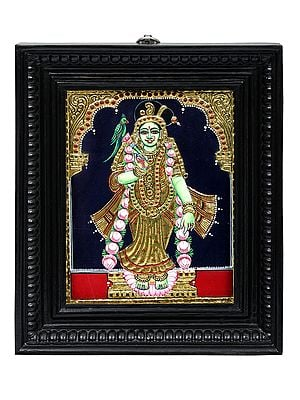"""10"""" x 12"""" Devi Meenakshi Tanjore Painting 