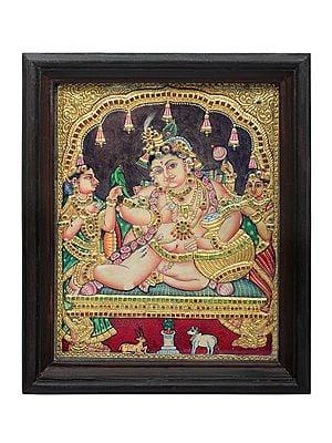"14"" x 17"" Navaneeta Krishna Tanjore Painting | Traditional Colors With 24K Gold | Teakwood Frame | Gold & Wood | Handmade | Made In India"