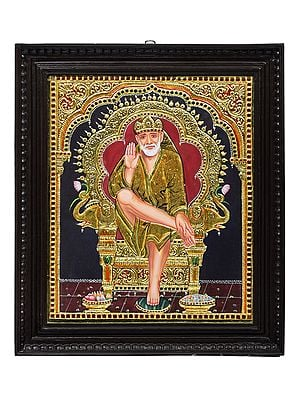"""18"""" x 21"""" Shirdi Sai Baba Tanjore Painting 