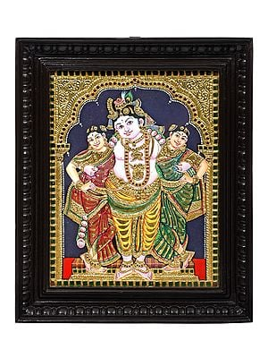 """15"""" x 18"""" Krishna with his Queens Tanjore Painting 