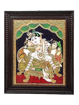 """19"""" x 23"""" Shri Krishna with Rukmini and Satyabhama Tanjore Painting 