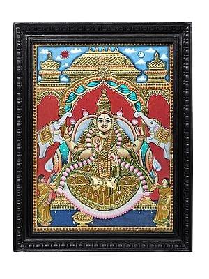"21"" x 27"" Padmasana Gajalakshmi Tanjore Painting | Traditional Colors With 24K Gold | Teakwood Frame | Gold & Wood | Handmade | Made In India"