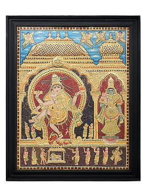 """27"""" x 33"""" Large Dancing Shiva with Devi Parvati Tanjore Painting 