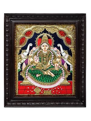 "18"" x 21"" Padmasana Gajalakshmi Tanjore Painting | Traditional Colors With 24K Gold | Teakwood Frame | Gold & Wood | Handmade | Made In India"