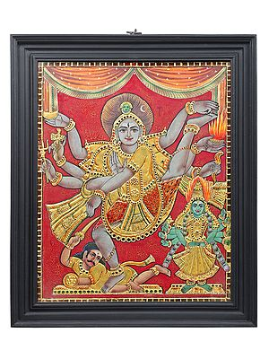 """29"""" x 35"""" Large Nataraja (Dancing Shiva) Tanjore Painting 