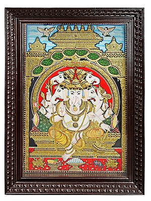 """39"""" x 41"""" Beautiful Large Panchamukhi Ganesha Tanjore Painting 