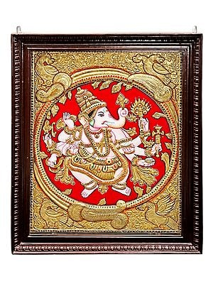 """28"""" x 34"""" Large Ashtabhuja-Dhari Ganesha Tanjore Painting 