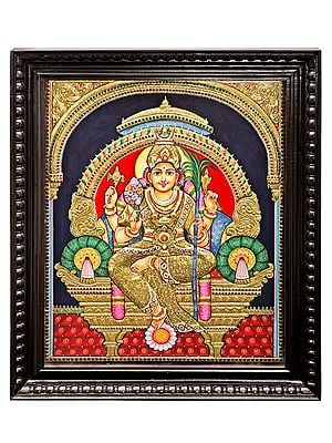 """28"""" x 34"""" Large Goddess Rajarajeshwari Tanjore Painting 