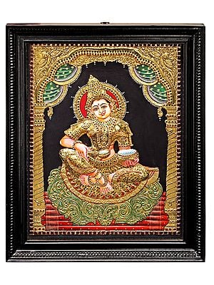 """21"""" x 27"""" Devi Annapurna Tanjore Painting 