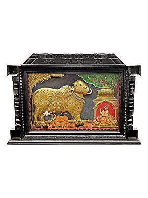 "48"" x 34"" Large Kasyapa Worshipping Kamdhenu Tanjore Painting | Traditional Colors With 24K Gold | Teakwood Frame | Gold & Wood | Handmade | Made In India"