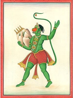 Triumphant Lord Hanuman In Possession Of Mount Sanjeevani