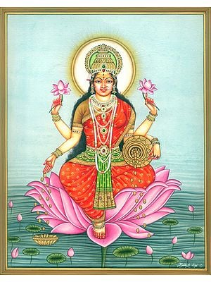 Goddess Dhana Lakshmi Seated on Lotus in Pond