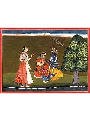 Radha Krishna with a Gopi (Gita Govinda Series)