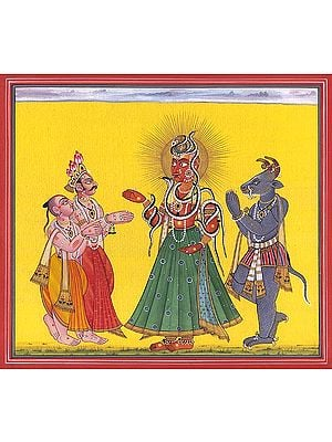 Tantric Devi Series - Mahadevi Adored by Vamana, Varaha and Indra