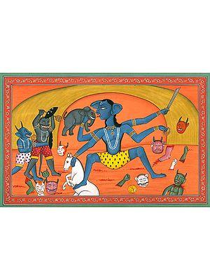 Goddess Kali Killing a Host of Demons