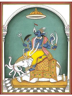 Varaha Incarnation of Lord Vishnu Seated on Seven Trunked White Elephant