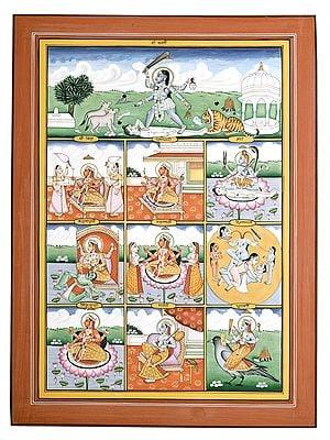 "10"" x 14"" Dasa Mahavidya | Water Color Painting | Handmade | Made In India"