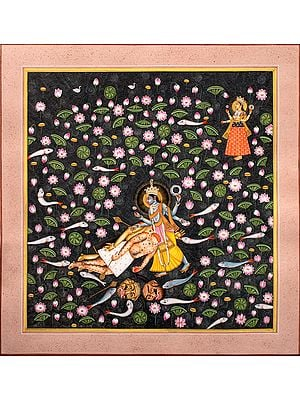 Lord Vishnu Kills Madhu and Kaitabh on His Thighs as Yoga Nidra The Great Goddess Looks On (From the Devi Mahatmya)
