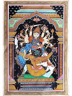 Super Fine Painting of Ashta-Bhuja Dharini Goddess Durga Killing the Demon