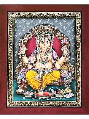 Lord Ganesha Seated on Royal Throne