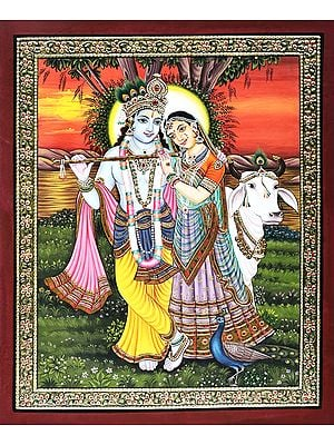 Loving Bond of Radha-Krishna Amidst the Calming Sunset