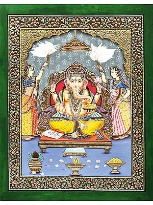 Auspicious Lord Ganesha with Riddhi and Siddhi