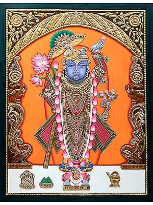 Jewelled Lord Shrinath having Soothing Eyes with Calm Appearance
