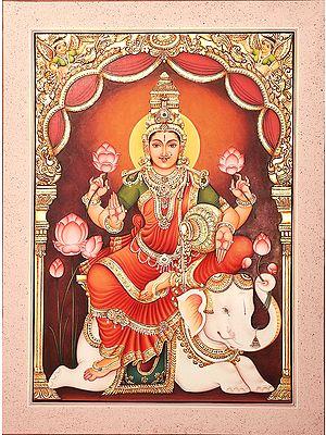 Gajalakshmi, Devi Of Plenitude, Surrounded By Lotuses