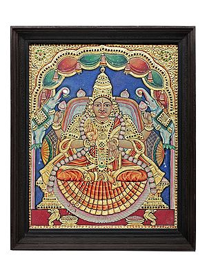 """18"""" x 22"""" Goddess Gaja Lakshmi Tanjore Painting 
