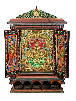 """36"""" x 54"""" Glorious Gajalakshmi Tanjore Painting With Large Wooden Traditional Door Frame 