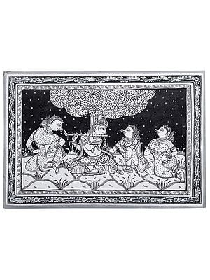 Lord Krishna in Musical Harmony With Gopis