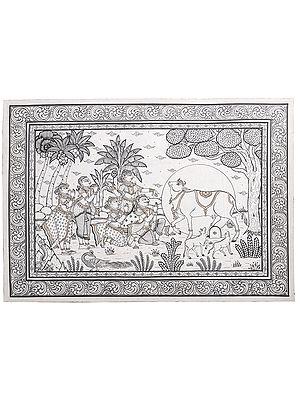 Worshipping Kamadhenu (The Sacred wish Fulfulling Cow)