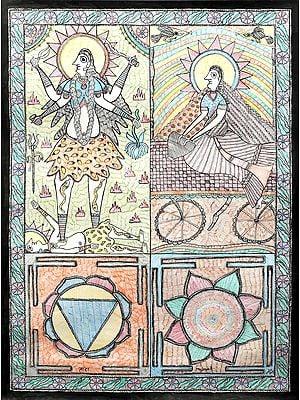 Goddess Tara and Goddess Dhumavati With Their Yantras