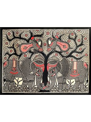Elephant and Peacock Pair With The Magnificent Tree Of Life