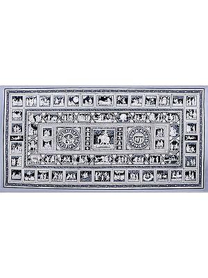 Monotone, Highly Intricate Krishnaleela Panels (Composite Painting)