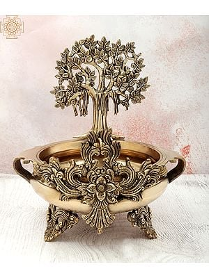 "14"" Bodhi Tree Design Urli | Handmade | Home Décor | Decorative Bowl / Accents | Brass | Made In India"