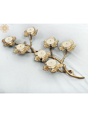 Beautiful Leaf Design Brass Candle Stand | Handmade | Home Décor | Decorative Object / Accents | Brass | Made In India